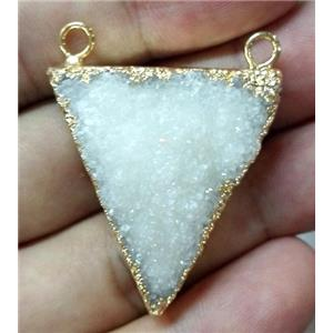 white druzy quartz pendant with 2holes, triangle, gold plated