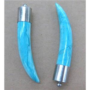 Turquoise Horn Pendant, blue