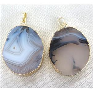 Heihua agate slice pendant, gray, freeform, gold plated
