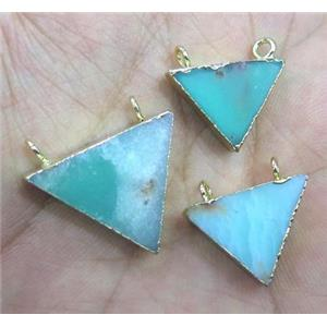 Australian Chrysoprase Triangle Pendant with 2holes, green