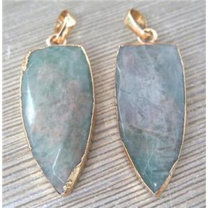 Amazonite bullet pendant, gold plated