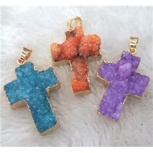 mixed druzy quartz cross pendant, gold plated