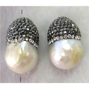 white freshwater pearl beads with rhinestone, teardrop