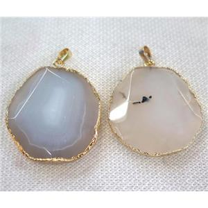 gray white agate slice pendant, faceted freeform, gold plated