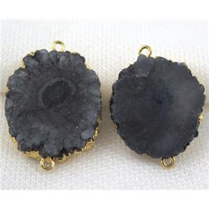black Solar Quartz druzy slice connector, freeform, gold plated