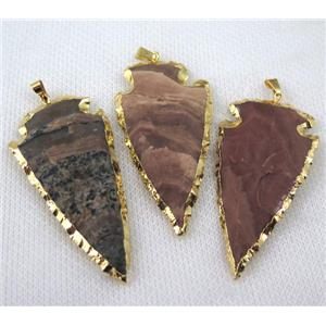mix hammered agate arrowhead pendant, gold plated
