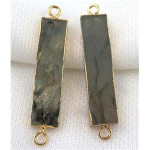 Labradorite connector, rectangle, gold plated
