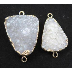 Fluorite druzy connector, white, freeform, gold plated