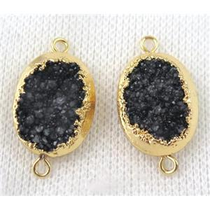 black druzy quartz connector, oval, gold plated