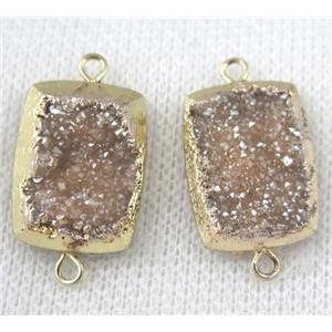 champagne druzy quartz connector, rectangle, gold plated