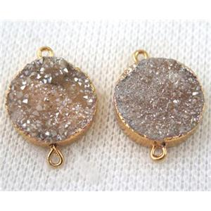 champagne druzy quartz connector, flat round, gold plated