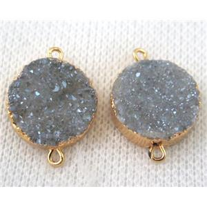 light blue-gray druzy quartz connector, flat round, gold plated