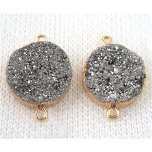 silver druzy quartz connector, flat round, gold plated
