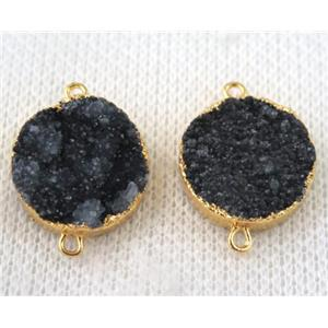 black druzy quartz connector, flat round, gold plated