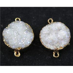 white AB-color druzy quartz connector, flat round, gold plated
