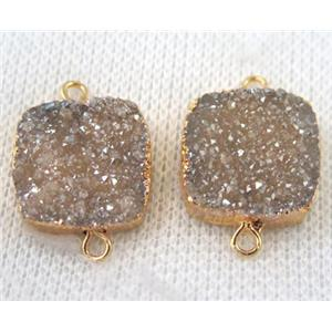 champagne druzy quartz connector, square, gold plated