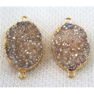 champagne druzy quartz connector, oval, gold plated