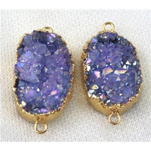 purple druzy quartz connector, AB color, freeform, gold plated