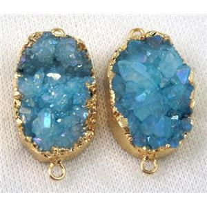blue druzy quartz connector, AB color, freeform, gold plated