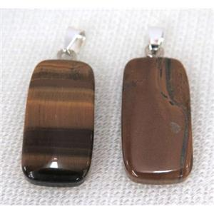 tiger eye stone rectangle pendant