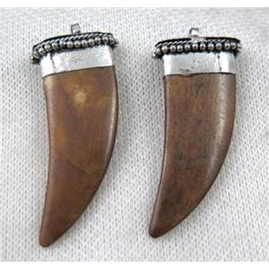 brown bone horn pendant