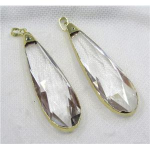 glass crystal teardrop pendant, gold plated