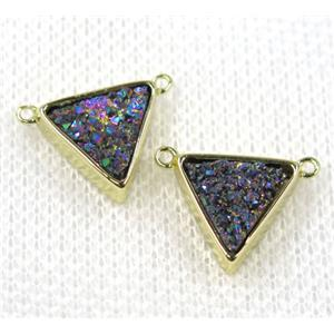 rainbow druzy quartz triangle pendant with 2loops, gold plated, approx 10x10x10mm