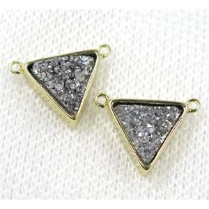 silver druzy quartz triangle pendant with 2loops, gold plated, approx 10x10x10mm