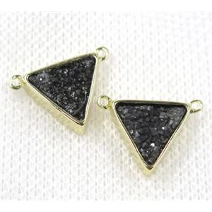 black druzy quartz triangle pendant with 2loops, gold plated, approx 10x10x10mm