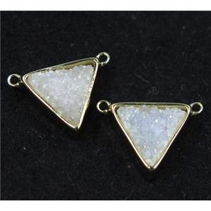 druzy quartz triangle pendant with 2loops, white ab color, gold plated, approx 10x10x10mm