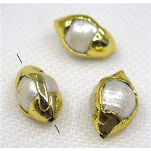 white pearl beads, oval, 24k gold plated