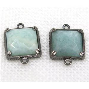 green Amazonite connector, faceted square, black plated