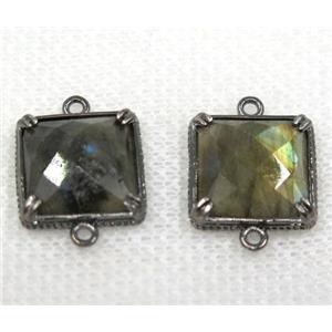 Labradorite connector, faceted square, black plated