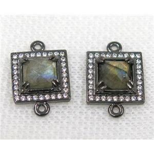 Labradorite connector pave rhinestone, faceted square, black plated