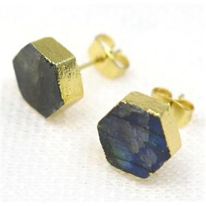 Labradorite earring stud, hexagon, gold plated