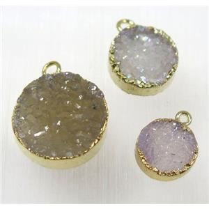 druzy agate pendant, natural color, flat round, gold plated