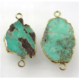 green Australian Chrysoprase slice connector, freeform, gold plated
