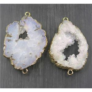 white ab color druzy agate slice connector, freeform, gold plated