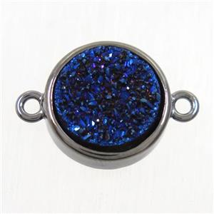 blue Druzy Agate connector, flat round, black plated