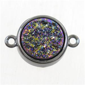 rainbow Druzy Agate connector, flat round, black plated