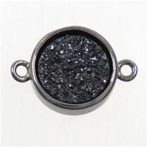 black Druzy Agate connector, flat round