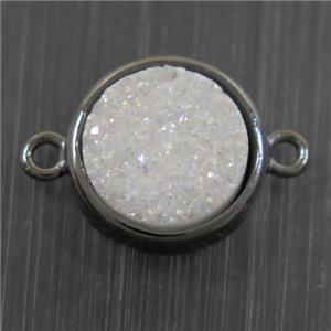 white AB-color Druzy Agate connector, flat round, black plated