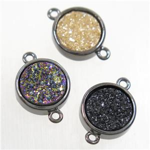 Druzy Agate connector, mixc olor, flat round, black plated
