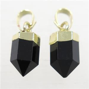 black Onyx Agate bullet pendants, gold plated