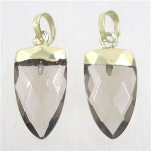 Smoky Quartz pendants, faceted arrowhead, gold plated