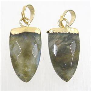 Labradorite pendants, faceted arrowhead, gold plated