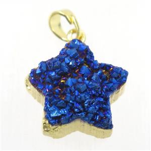 blue electroplated Druzy Quartz star pendant, gold plated