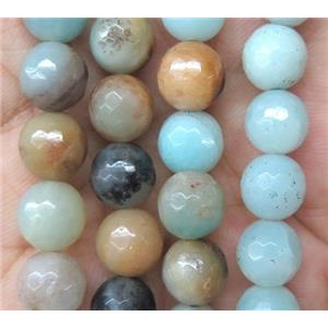 faceted round Amazonite Beads