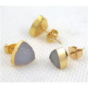 druzy agate earring studs, copper, triangle, gold plated