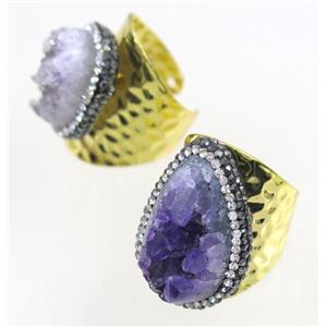 Druzy Amethyst copper Ring paved rhinestone, gold plated